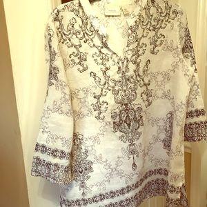 Chico's black & white linen blouse